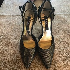 Nina black and gold studded pointed heels